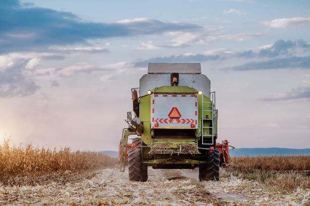 Retrovisione della mietitrice moderna che guida il campo di grano della depressione in autunno. Foto Premium