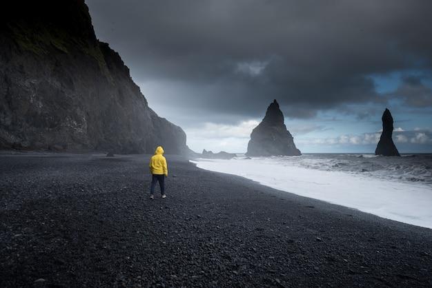 Reynisfjara black sand beach a vik, islanda Foto Premium