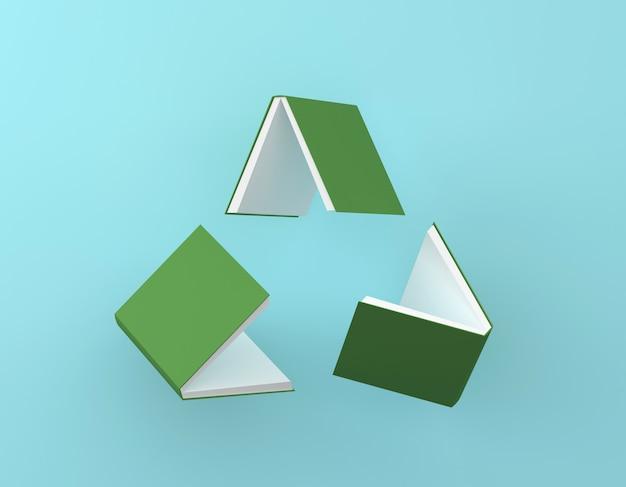 Ricicli il logo, disposizione di idea creativa dell'icona riciclata del ciclo del libro verde su fondo blu. Foto Premium