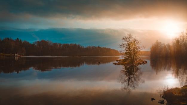 Riflessione degli alberi in un lago sotto l'incredibile cielo colorato catturato in svezia Foto Gratuite
