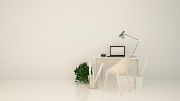 Rilassare lo spazio sfondo bianco rendering 3d interni Foto Premium