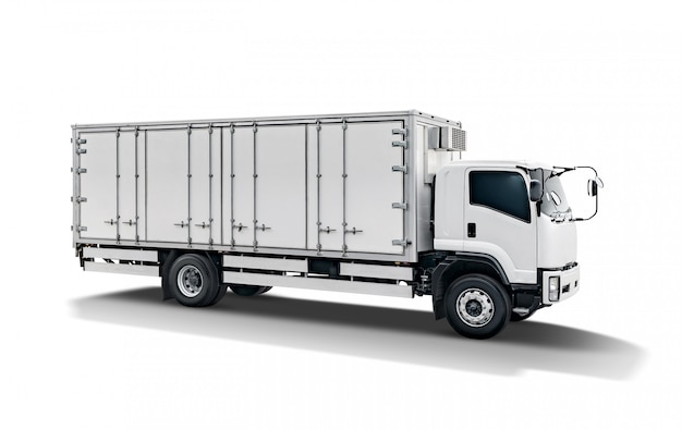 Rimorchio bianco dell'automobile del camion o del contenitore di carico del trasporto Foto Premium