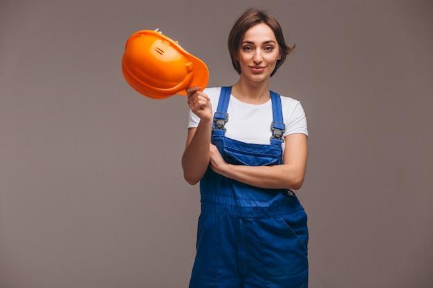 Riparatore della donna con il rullo di pittura isolato Foto Gratuite