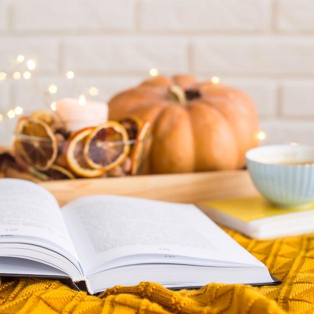 Riposo familiare accogliente in un giorno d'autunno libero - leggendo tra le coperte Foto Premium