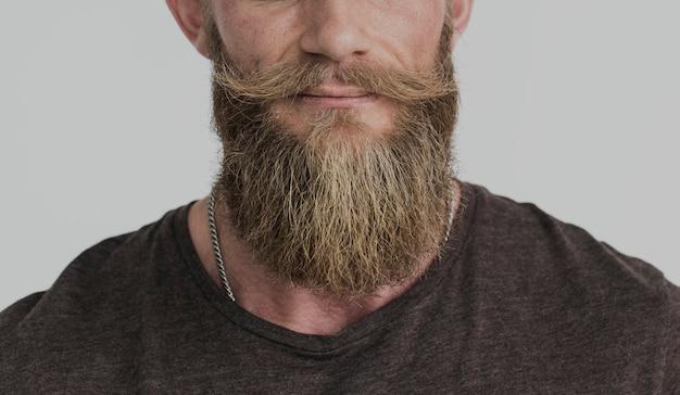 Ritagliata foto ritratto barbuto ragazzo casual Foto Premium