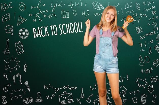 Ritorno a scuola happy teen student smiling Foto Premium