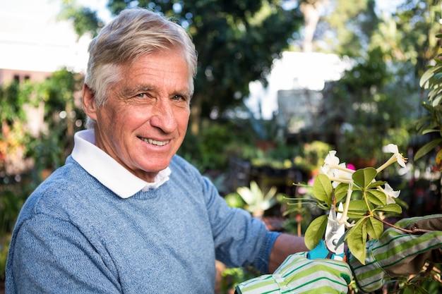 Ritratto dei ramoscelli sicuri della potatura del giardiniere al giardino Foto Premium