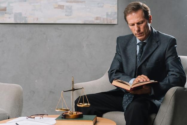 Ritratto del maschio maturo che si siede sulla sedia del bracciolo che legge libro legale Foto Gratuite