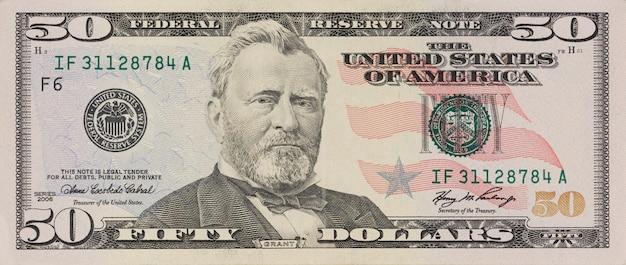 Ritratto dell'ex presidente degli stati uniti ulysses grant. macro da 50 dollari Foto Premium