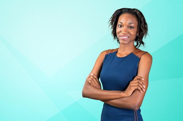 Ritratto di bella donna d'affari afroamericana Foto Premium