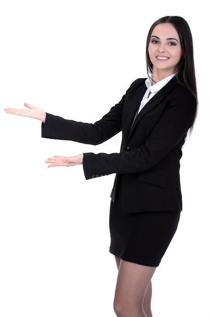 Ritratto di una giovane donna attraente per le imprese. Foto Premium