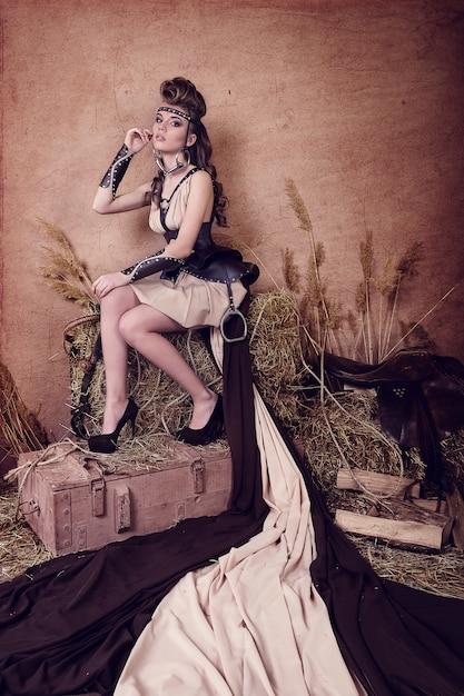 Ritratto di una ragazza con il trucco Foto Premium