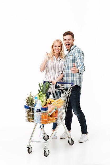 Ritratto integrale di una coppia felice Foto Gratuite