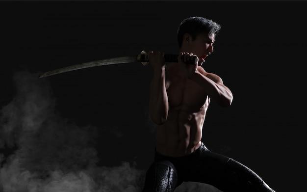 Ritratto umano di un guerriero antico muscoloso bello con una spada con il percorso di ritaglio Foto Premium