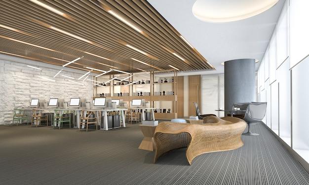 Riunione d'affari e stanza di lavoro della rappresentazione 3d sull'edificio per uffici Foto Premium