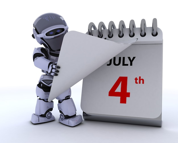 Robot con un calendario Foto Gratuite
