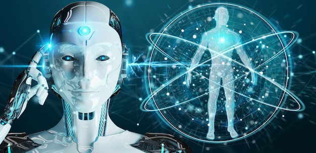 Robot della donna bianca che esplora rappresentazione del corpo umano 3d Foto Premium