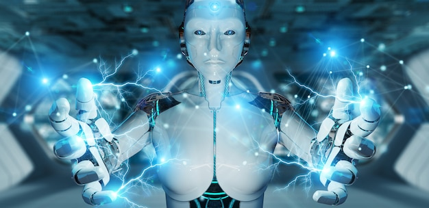 Robot della donna bianca che usando la rappresentazione digitale della connessione di rete 3d Foto Premium