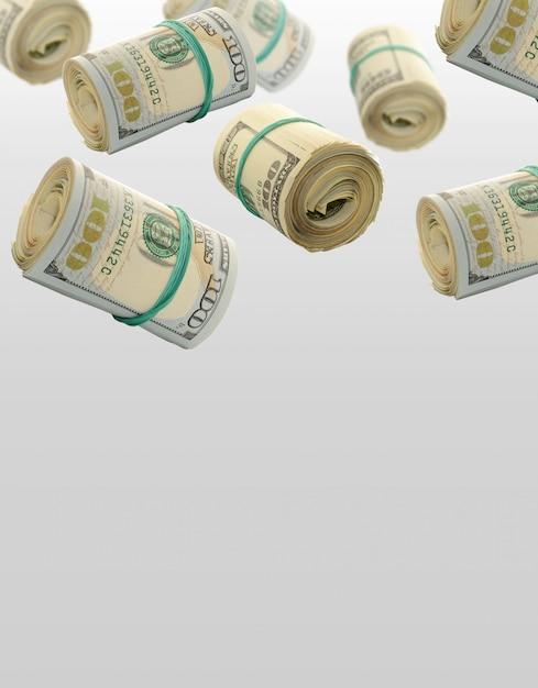 Rotoli volanti banconote da cento dollari Foto Premium