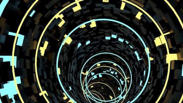 Running in circle light tunnel background in scena di festa retrò e sci fi. Foto Premium