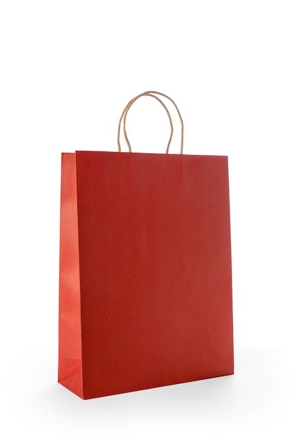 Sacchetti della spesa di carta rossi isolati Foto Premium