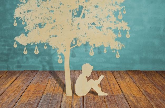 Sagome di alberi e persone su un legno Foto Gratuite