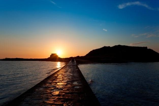 Saint malo tramonto paesaggio Foto Gratuite