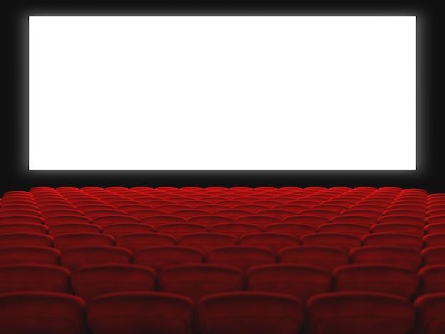 Sala cinema con sedili rossi e schermo bianco. rendering 3d Foto Premium