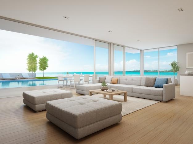 Sala da pranzo all 39 aperto e soggiorno con vista sul mare for Casa lussuosa