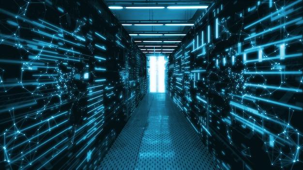 Sala del data center con server di dati astratti e indicatori a led luminosi Foto Premium