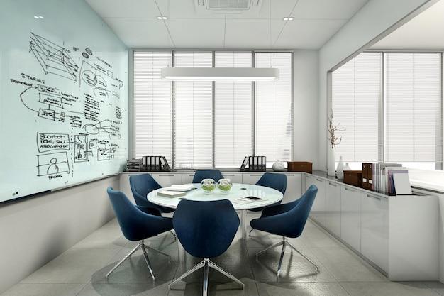 Sala riunioni d'affari della rappresentazione 3d sull'alta costruzione dell'ufficio Foto Premium