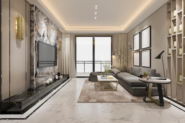 Salone classico di lusso della rappresentazione 3d con le mattonelle e lo scaffale per libri di marmo Foto Premium
