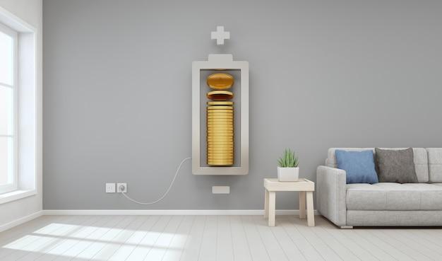 Salone della casa moderna con le monete di oro nel concetto di sviluppo di affari e di investimento della proprietà. Foto Premium