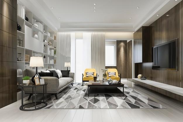Salone di lusso del sottotetto della rappresentazione 3d con la poltrona gialla con lo scaffale per libri Foto Premium