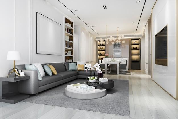 Salone di lusso del sottotetto della rappresentazione 3d con lo scaffale per libri e la sala da pranzo Foto Premium