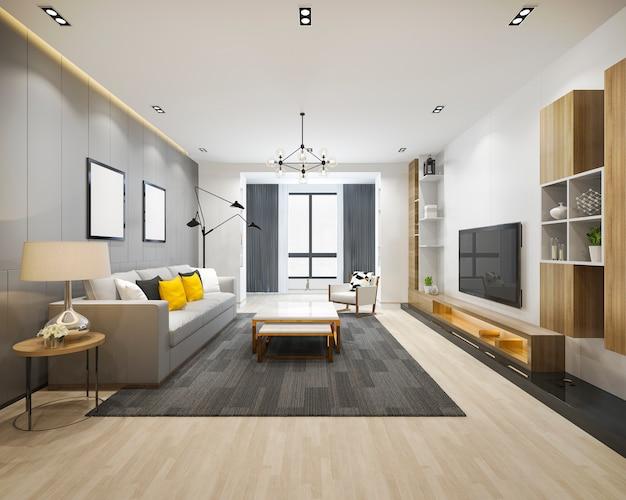 Salone e stanza di funzionamento di lusso del sottotetto della rappresentazione 3d con lo scaffale per libri Foto Premium