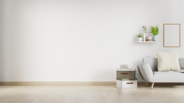 Salone interno con il sofà bianco e la parete in bianco con copyspace. rendering 3d. Foto Premium