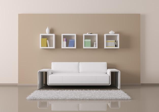 Salone interno con mobili e divano Foto Premium