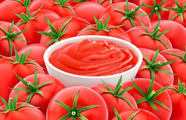 Salsa ketchup sui pomodori, struttura rossa del pomodoro. Foto Premium