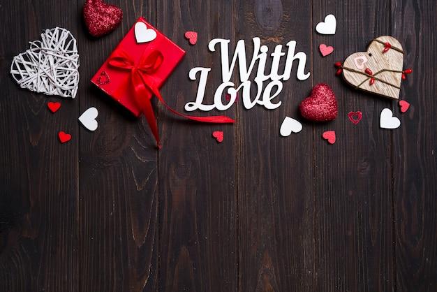 San valentino, matrimonio o altre decorazioni di festa, cornice di sfondo. Foto Premium