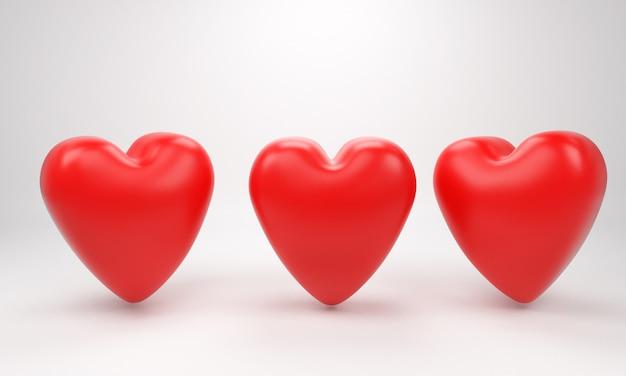 San valentino red sweet balloon hearts. illustrazione vettoriale 3d Foto Premium