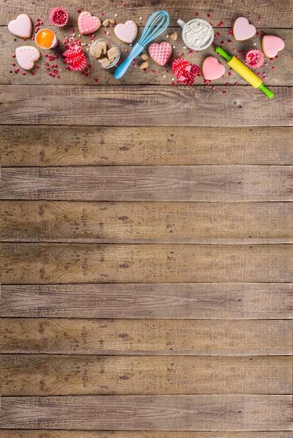 San valentino sfondo di cottura Foto Premium