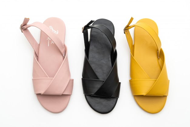Sandali moda donna e donna in pelle con cinturino Foto Premium