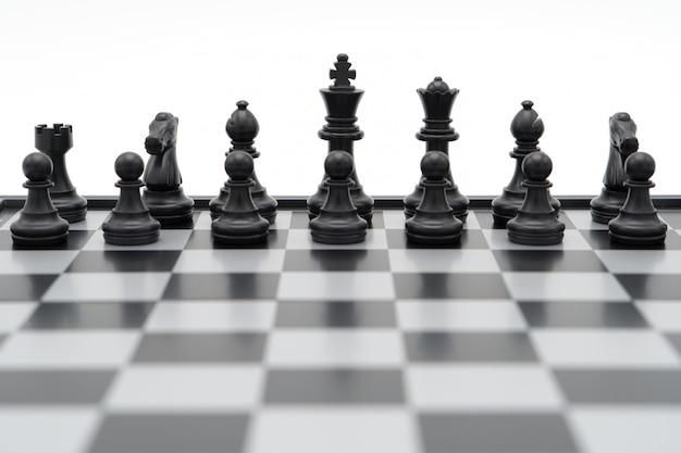 Scacchiera con un pezzo degli scacchi sul retro negoziare negli affari. come concetto di business di sfondo Foto Premium