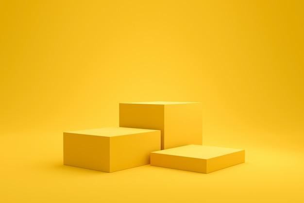 Scaffale a podio giallo o display a piedistallo vuoto su vivido sfondo estivo di moda con stile minimal. stand vuoto per mostrare il prodotto. rendering 3d. Foto Premium