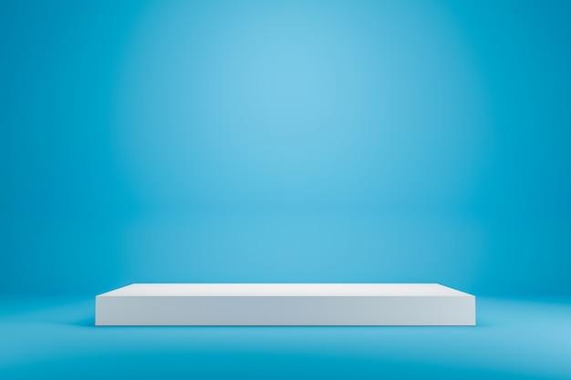 Scaffale bianco sul podio o esposizione vuota dello studio sul fondo blu vivo di estate con stile minimo. stand vuoto per mostrare il prodotto. rendering 3d. Foto Premium