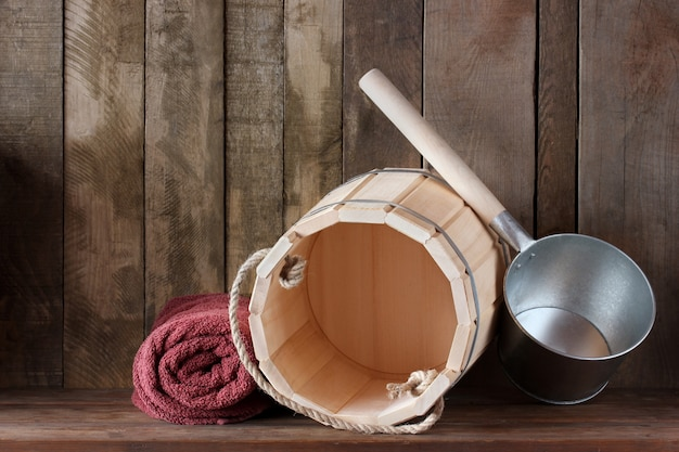 Scaffale nella vasca da bagno o nella sauna Foto Premium