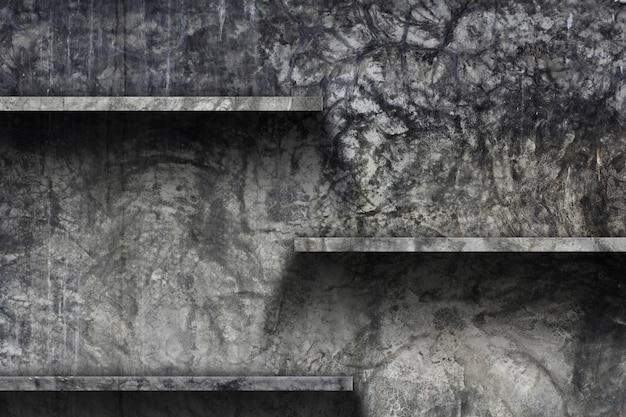 Scaffale vuoto con sfondo di muro di cemento vecchio, Foto Premium