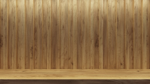 Scaffale vuoto realistico per il design della promozione. sfondo dello spazio di presentazione. stand espositivo vuoto. Foto Premium