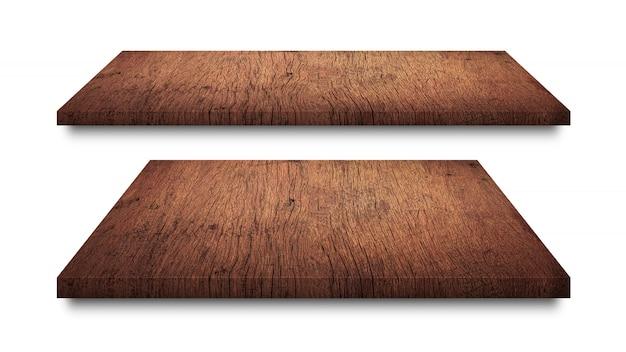 Scaffali di legno marroni isolati su bianco Foto Premium